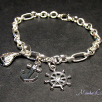 Nautical Charm Bracelet, Sailboat Anchor and Wheel, Jewelry for Ocean Lovers