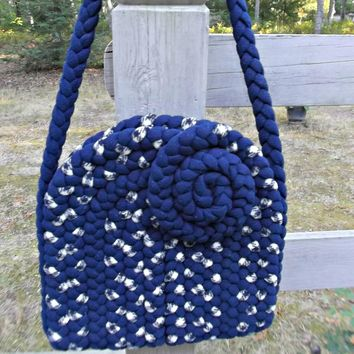 Vintage Braided Rug Bag Purse Handmade