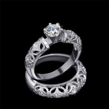 ON SALE - Art Deco Inspired Milgrain Filigree Band and CZ Solitaire Engagement Ring Set - Ring