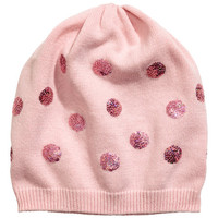 Fine-knit Hat with Sequins - from H&M