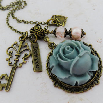 Grey necklace, flower necklace, grey and pink jewelry, charm necklace, gift for her, bronze jewelry, vintage style
