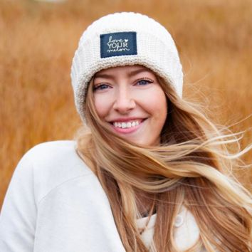 Love Your Melon White Speckled Cuffed Beanie (Navy Gold Foil Patch)