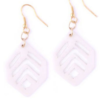 Vintage Leaf Earrings - White