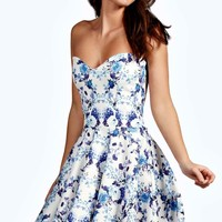 Hallie Bandeau Skater Dress | Boohoo