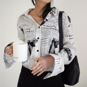 Black white Letter poster Printed Loose Casual Long Sleeve Shirt Female's Blouse New Fashion tops korean vintage Q360