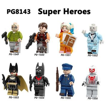 Building Blocks Super Heroes Batman Armor Joker Harley Quinn Jason Voorhees Spiderman Zombie Headhunters Brick Gifts Toys PG8143