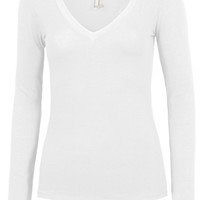 LE3NO Womens Lightweight Fitted Long Sleeve V Neck Cotton Shirt with Stretch (CLEARANCE)