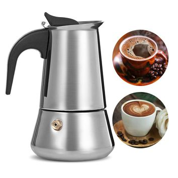 Stainless Steel Moka Coffee Maker Latte Espresso Mocha Maker Pot Stovetop Filter Coffee 100ML 200ML 300ML 400ML Coffee Machine