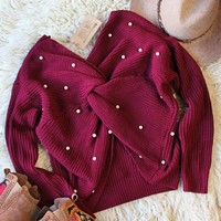 Venice Pearl Sweater in Merlot