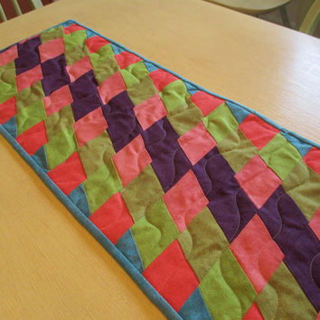 Diamond Table Runner , Purple And Green Runner , Quilted Table Runner