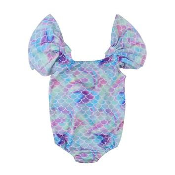 Cute Newborn Baby Girls Mermaid Swimwear Swimsuit Bikini Bathing Suit One-Piece Baby Clothing