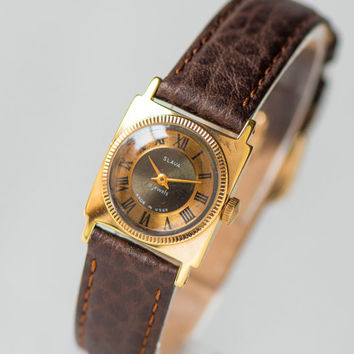 Brown copper shades lady watch Slava\Glory – square women's watch - gold plated lady watch – small ornamented watch - new leather strap