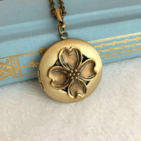 Gold Dogwood Locket Necklace, flower floral pendant vintage antique brass style photo picture birthday wedding gift gifts North Carolina