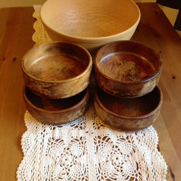 Antique Maple Wood Bowl Set -Antique - Mid Century Solid Maple - Vintage