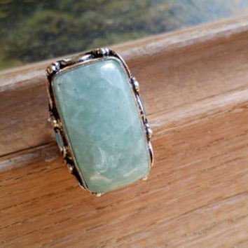 Sea Blue Aquamarine Gemstone Ring Statement Ring Aquamarine Ring  Cocktail Ring Size 9 Ring Rectangular Ring 925 Silver Ring