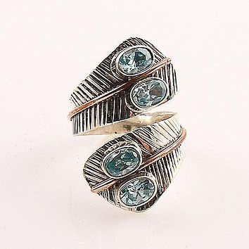 Blue Topaz Two Tone Adjustable Sterling Silver Leaf Ring