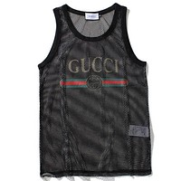 Gucci Fashion Women Casual Sleeveless Mesh Letter Print Vest Tank Pullover Top Black I-AG-CLWM