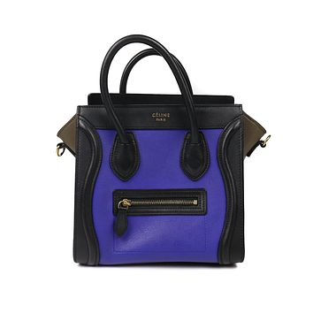 Celine Blue Brown Black Tri-Color Mini  Leather Luggage Crossbody Shoulder Bag