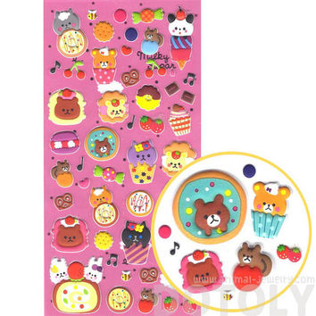 Super Cute Teddy Bears and Donuts Cakes Desserts Shaped Puffy Stickers | Cute Animal Themed Scrapbook Decorating Supplies