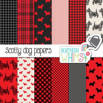 Scotty Dog Digital Paper Pack – red and black scottie dog patterns – Scottish Terrier – Aberdeen Terrier – scrapbook paper – commercial use