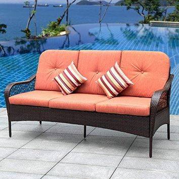 Sundale Outdoor Deluxe Patio Wicker Sofa 3 Seater Luxury Comfort Wicker Couch with Padded Cushions and Throw Pillows