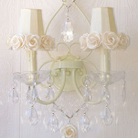 Exquisite Rose Double Light Wall Sconce with Cream Rose Shades - $289 - The Bella Cottage
