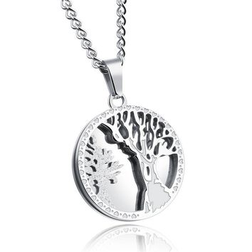 GAGAFEEL Customized  Pendant Necklace For Men  Silver Gold Color Round  Stainless Steel Tree Of Life Gift Personalized Jewelry