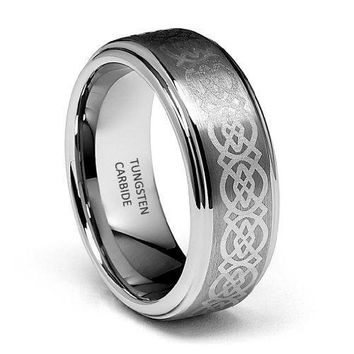 8mm Celtic Design Laser Engraved Tungsten Wedding Band (Platinum)