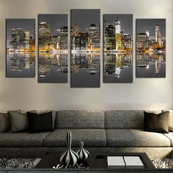 5 Panels Modern City Views Modular Picture Canvas Print Painting Wall Art Canvas Painting For Home Decor (No Frame)