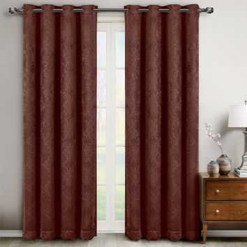 Chocolate 104x63 Bella Blackout Weave Window Panels (Set of 2)