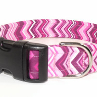 Pink Fuchsia White Chevron Dog Collar