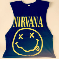 Studded NIRVANA smiley crop top