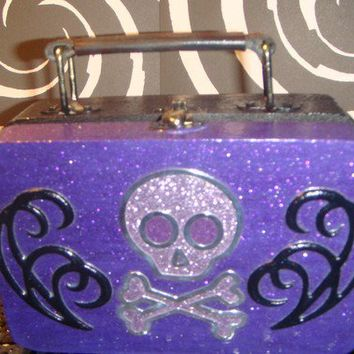 Cute Purple Glitter and Black Skull and Crossbones Box with Handle