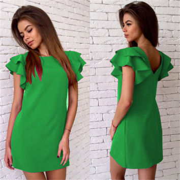 2016 New Arrival Women Summer Style Butterfly Sleeve Dress Casual Sexy Halter Mini Party Dresses Vestidos