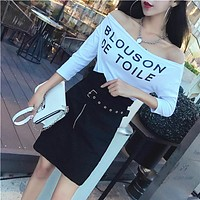 Letter Print Off Shoulder Middle Sleeve T-shirt Women Simple Bodycon Tops