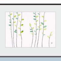 Original illustration of trees. Modern home decor. Green abstract wall art. Minimalist leaves painting.