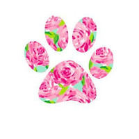 Paw Print Lilly Pulitzer  Decal , Lilly Inspired Decal Lilly Pulitzer Decal , Lilly car decal , Lilly Pulitzer Yeti decal Custom Decal , Dog