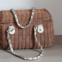 Satchel Bag Tote/Ladies Hand-woven Shopping Beach Basket Fully Lined Straw Bag