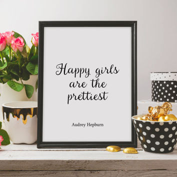 Happy Girls Are the Prettiest Audrey Hepburn Poster Girl Room Wall Art, Girly Pink Nursery Dorm Decor Printable Art Audrey Hepburn Quote