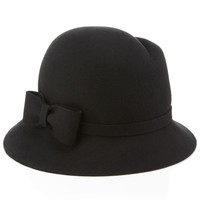 Asymmetric Bow Cloche Hat | Black | Accessorize