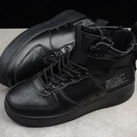 "NIKE AIR FORCE ONE AF1 MID SF ""Triple Black"" Sneaker 917753-005"
