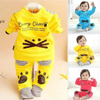 Baby Girls Clothing Set Brand Cartoon Child Long Sleeve Suit Autumn Cotton Toddler Baby Sets Kids Boys Girls Clothes- N5