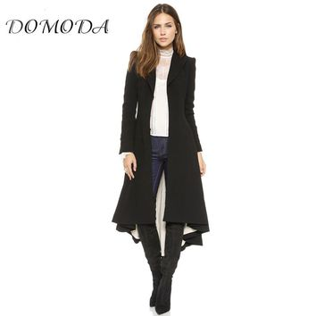 Womens Black Asymmetrical High Low Longline Coat Casual Loose Trench Coat V Neck Ruched Hem