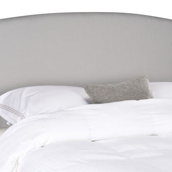 Austin Light Grey Winged Headboard - Silver Nail Head Queen