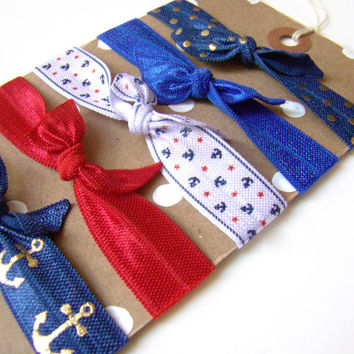 Nautical Hair Tie Set, 4th of July, FOE, Summer Hair Ties, Red White and Blue, Summer Party Favor, Preppy Hair Ties, Anchor Hair Ties