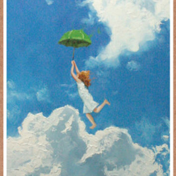 Umbrella Leap Birthday Card