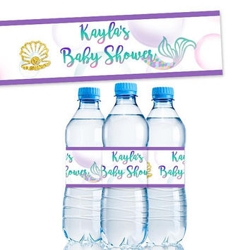 Mermaid Water Bottle Labels - Mermaid Baby Shower Decorations - Mermaid Water Labels - Purple Gold Mermaid Baby - Girl Baby Shower Ideas