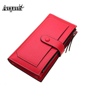 Fashion Womens Wallets Long Designer Leather Coin Purses Lady Day Clutch Credit Card Holders Solid Candy Color Hasp Girls Pouch