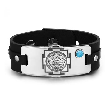 Sri Yantra Chakra Magical Energy Amulet Simulated Turquoise Adjustable Leather Bracelet