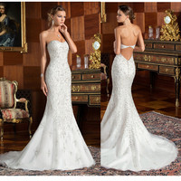 Amazing 2017 Sweetheart Beading Lace Mermaid Wedding Dresses Sexy Key Hole Back Long Tail Bridal Gowns 2017